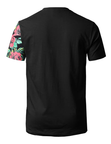 """Hustle Hard""Floral Block Print T-Shirts - BLACK"