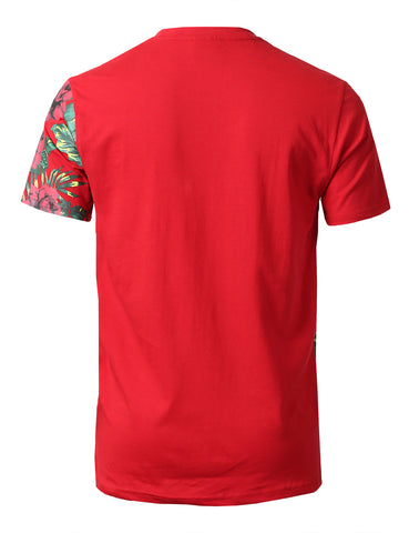 """Hustle Hard""Floral Block Print T-Shirts - RED"