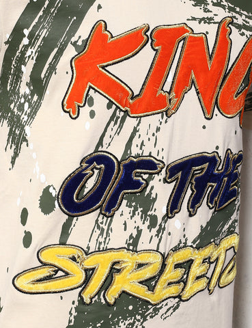 "Velvet ""King of the Street""  Patched T-Shirts - SAND"