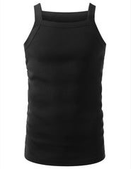 BLACK SQUARE NECK TANK TOP