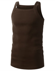 BROWN SQUARE NECK TANK TOP