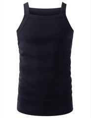 NAVY SQUARE NECK TANK TOP