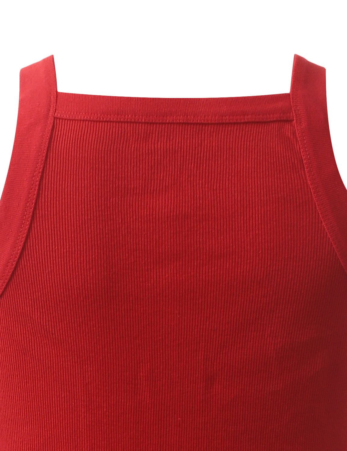 RED SQUARE NECK TANK TOP