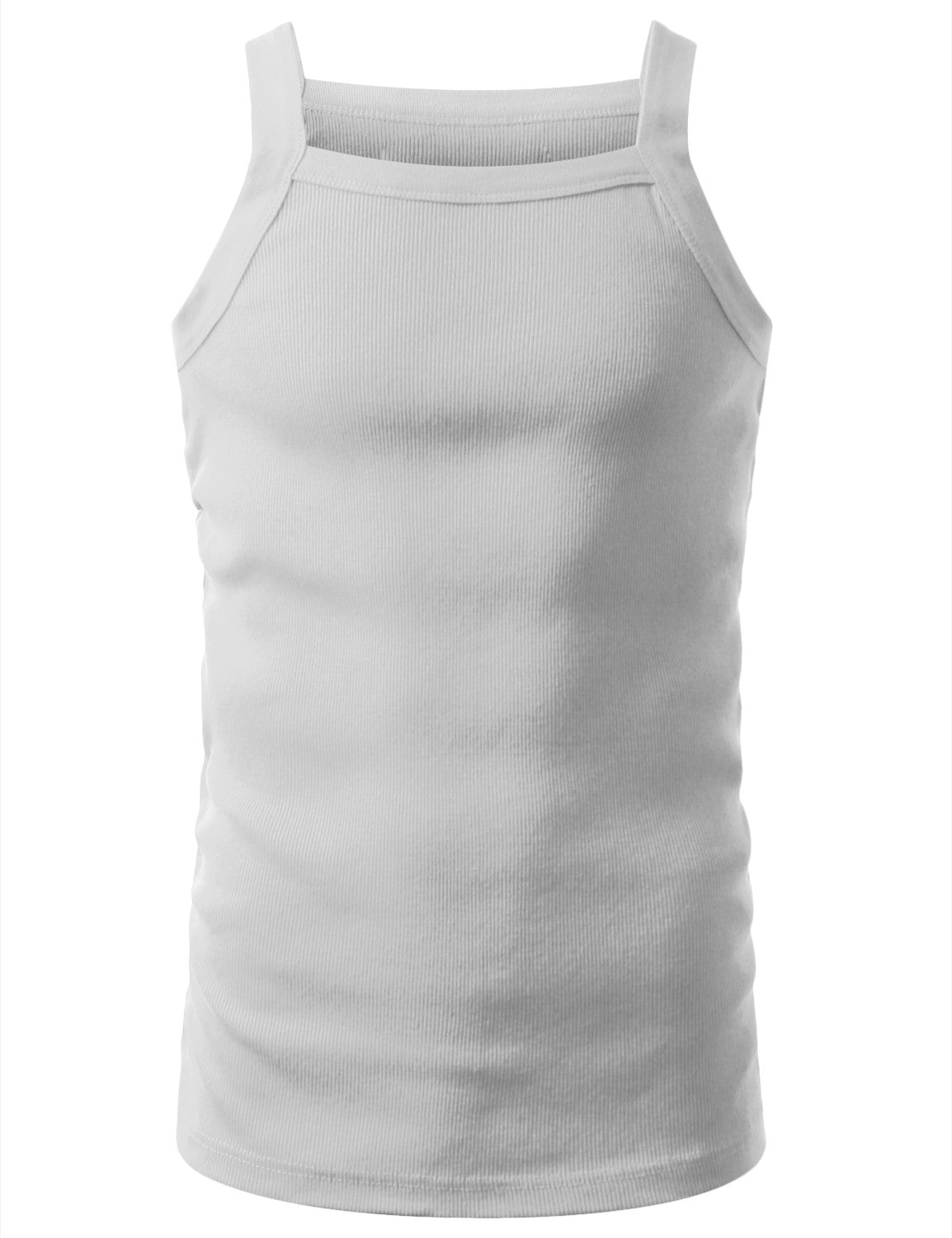 WHITE SQUARE NECK TANK TOP