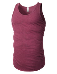 BURGUNDY Basic Solid Muscle Tank Top Shirts - URBANCREWS