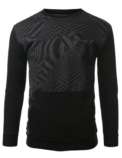 URBANCREWS Mens Hipster Hip Hop French Terry Crewneck Sweatshirt BLACK