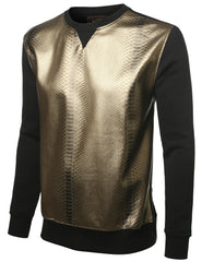 BLACKGOLD Metallic Croc Skin Pullover - URBANCREWS