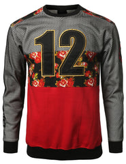RED - 12 Mesh DimeADozen Floral Sweatshirt RED MEDIUM
