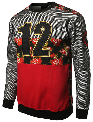 URBANCREWS Mens Hipster Hip Hop 12 Mesh DimeADozen Floral Sweatshirt RED
