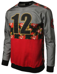 RED - 12 Mesh DimeADozen Floral Sweatshirt RED LARGE