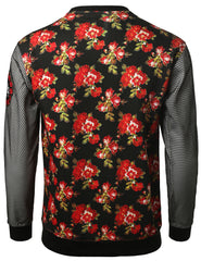 RED - 12 Mesh DimeADozen Floral Sweatshirt RED XXLARGE
