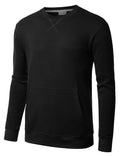 BLACK Basic Pouch Crewneck Pullover Sweatshirt - URBANCREWS