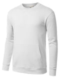 WHITE Basic Pouch Crewneck Pullover Sweatshirt - URBANCREWS
