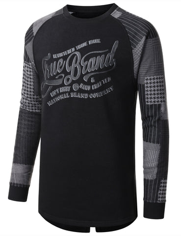 URBANCREWS Mens Hipster Hip Hop Plaid Long Sleeve Crewneck T-shirt BLACK