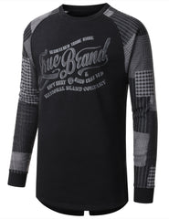 BLACK - Plaid Long Sleeve Crewneck T-shirt BLACK MEDIUM