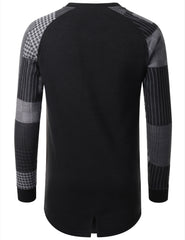 BLACK - Plaid Long Sleeve Crewneck T-shirt BLACK LARGE