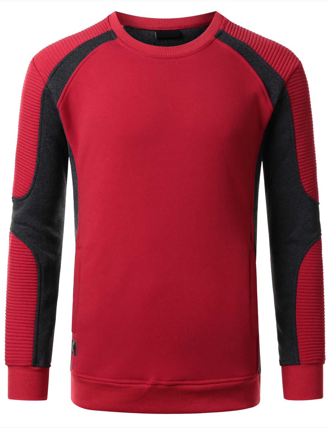 RED Basic Ribbed Crewneck Sweatshirt - URBANCREWS