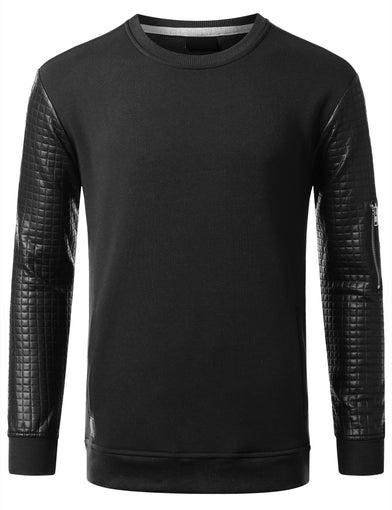 URBANCREWS Mens Hipster Hip Hop Quilted PU Sleeves Sweatshirt BLACK