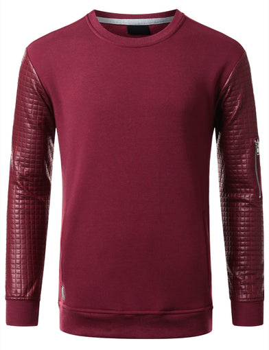URBANCREWS Mens Hipster Hip Hop Quilted PU Sleeves Sweatshirt BURGUNDY