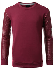 BURGUNDY - Quilted PU Sleeves Sweatshirt BURGUNDY SMALL