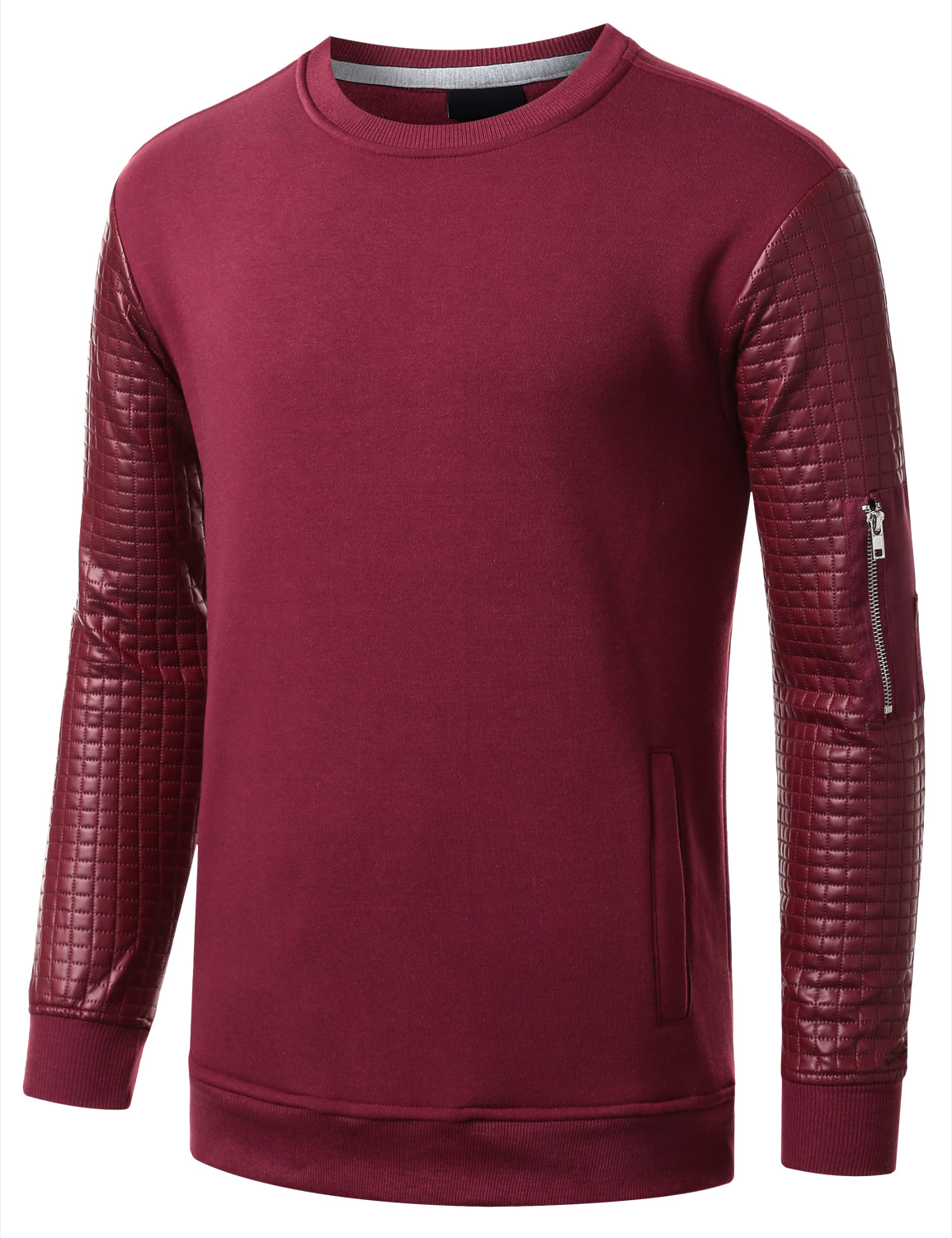 BURGUNDY - Quilted PU Sleeves Sweatshirt BURGUNDY MEDIUM