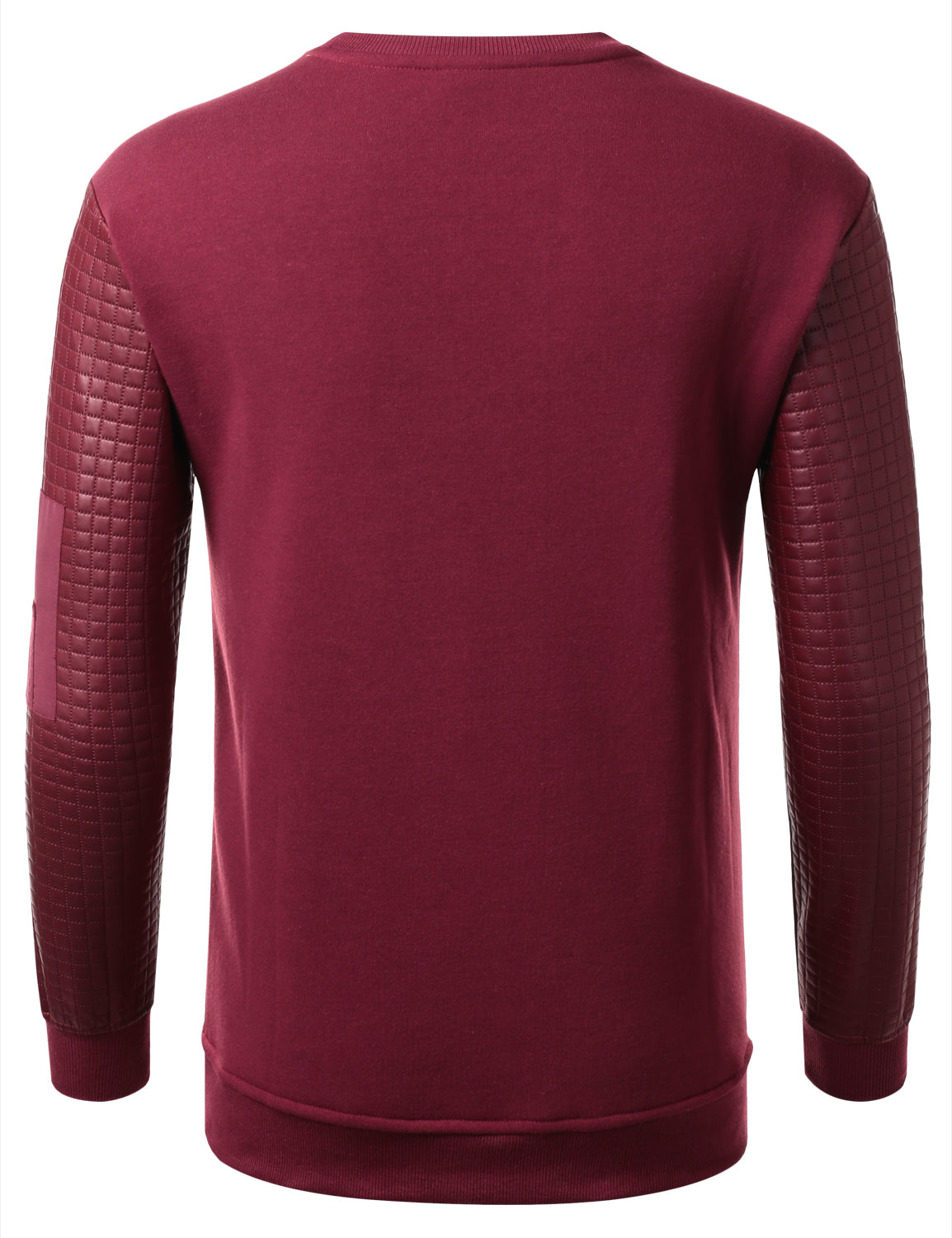 BURGUNDY - Quilted PU Sleeves Sweatshirt BURGUNDY LARGE