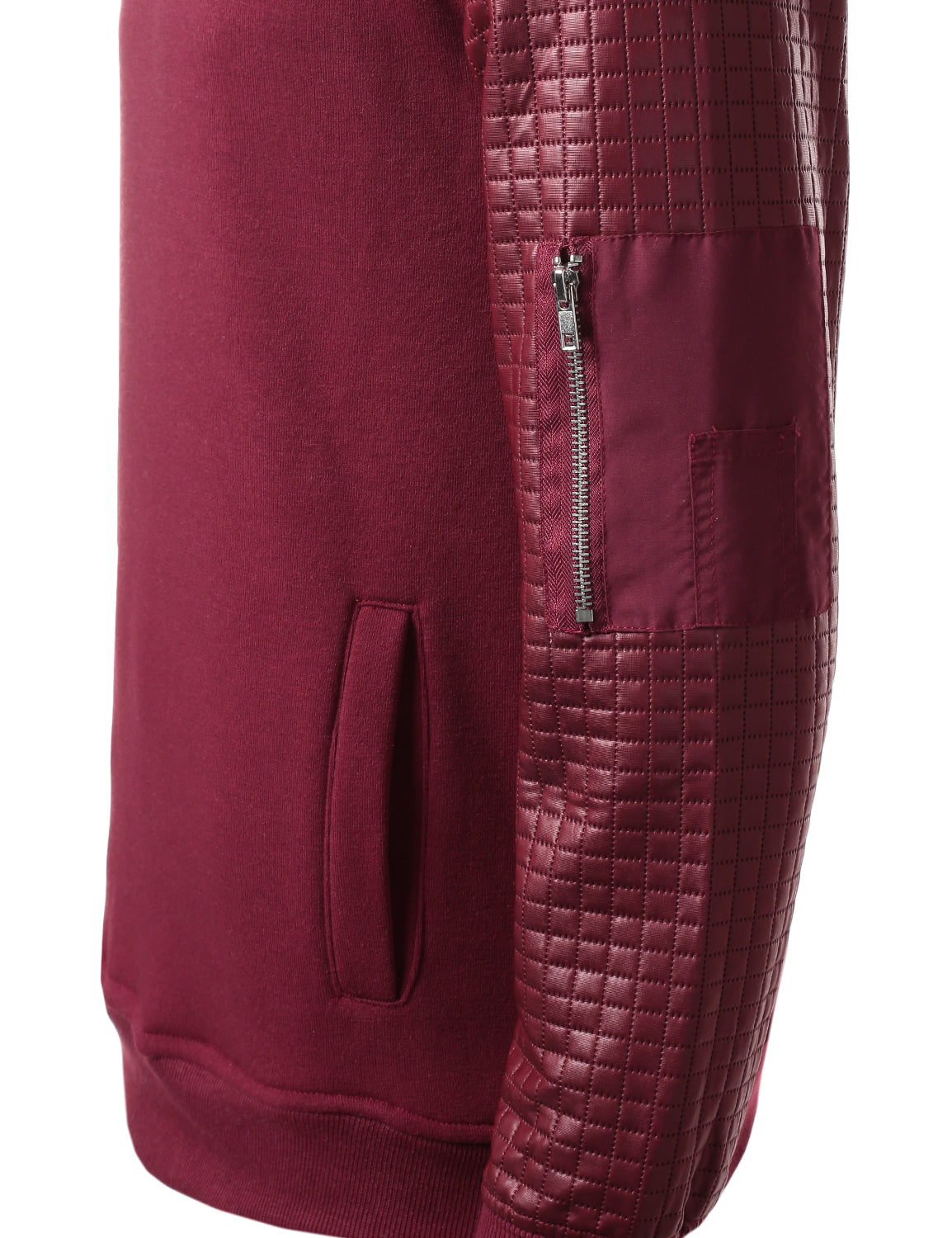 BURGUNDY - Quilted PU Sleeves Sweatshirt BURGUNDY XLARGE