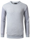 HGRAY - Quilted PU Sleeves Sweatshirt HGRAY SMALL