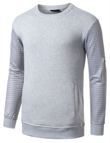 URBANCREWS Mens Hipster Hip Hop Quilted PU Sleeves Sweatshirt HGRAY