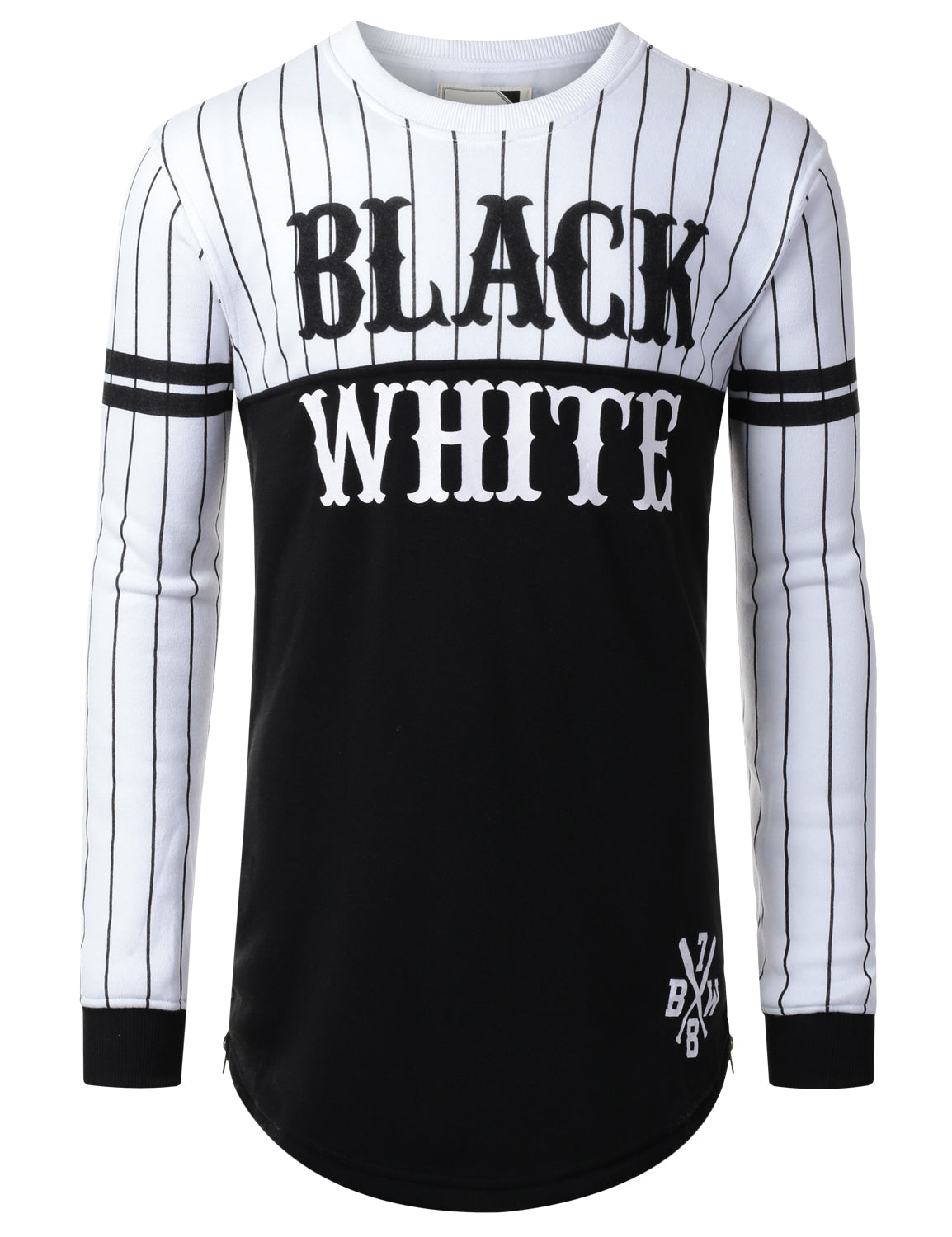 WHITE - Color Block Longline Long Sleeve Shirt WHITE,3XL