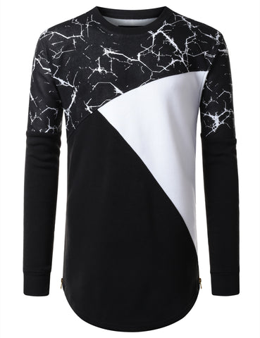 URBANCREWS Mens Hipster Hip Hop Color Block Longline Long Sleeve Shirt BLACK