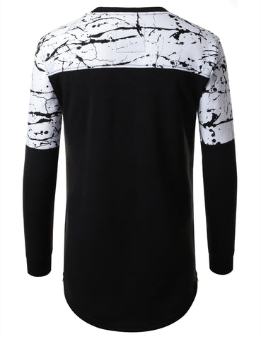 URBANCREWS Mens Hipster Hip Hop Color Block Longline Long Sleeve Shirt WHITE