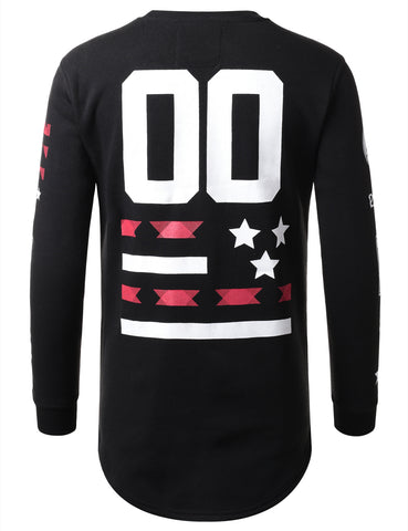 URBANCREWS Mens Hipster Hip Hop Graphic Print Long Sleeve Shirt BLACK
