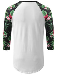 WHITE 3/4 Sleeve Floral Printed Longline Raglan Baseball Shirt- URBANCREWS