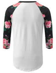 WHITE 3/4 Sleeve Roses Longline Raglan Baseball Shirt- URBANCREWS