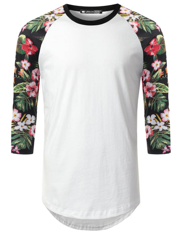 3/4 Sleeve Tropical Floral Longline Raglan Baseball Shirt