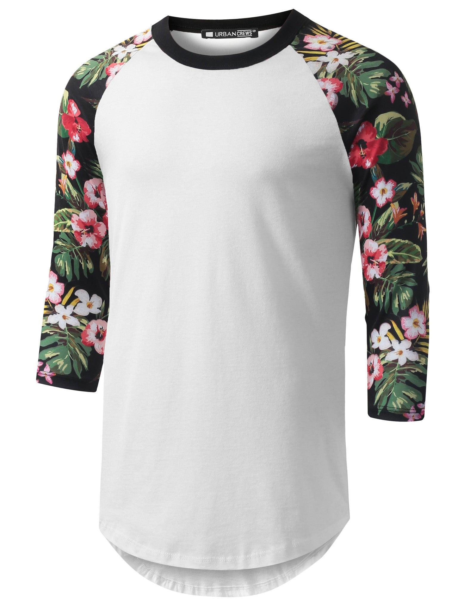 WHITE 3/4 Sleeve Tropical Floral Longline Raglan Baseball Shirt- URBANCREWS