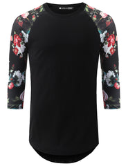 BLACK 3/4 Sleeve Black Floral Longline Raglan Baseball Shirt- URBANCREWS