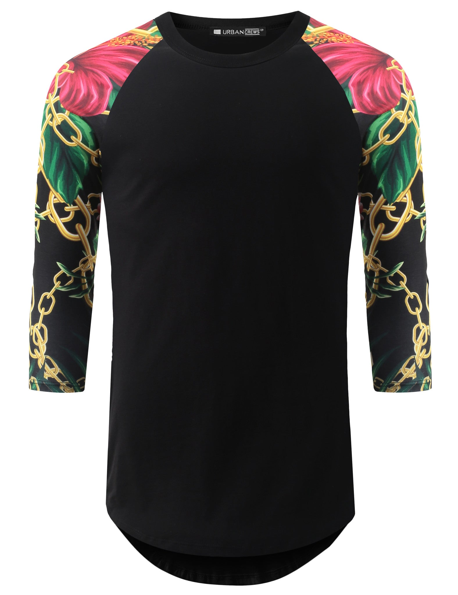 BLACK 3/4 Sleeve Floral Chain Longline Raglan Baseball Shirt- URBANCREWS