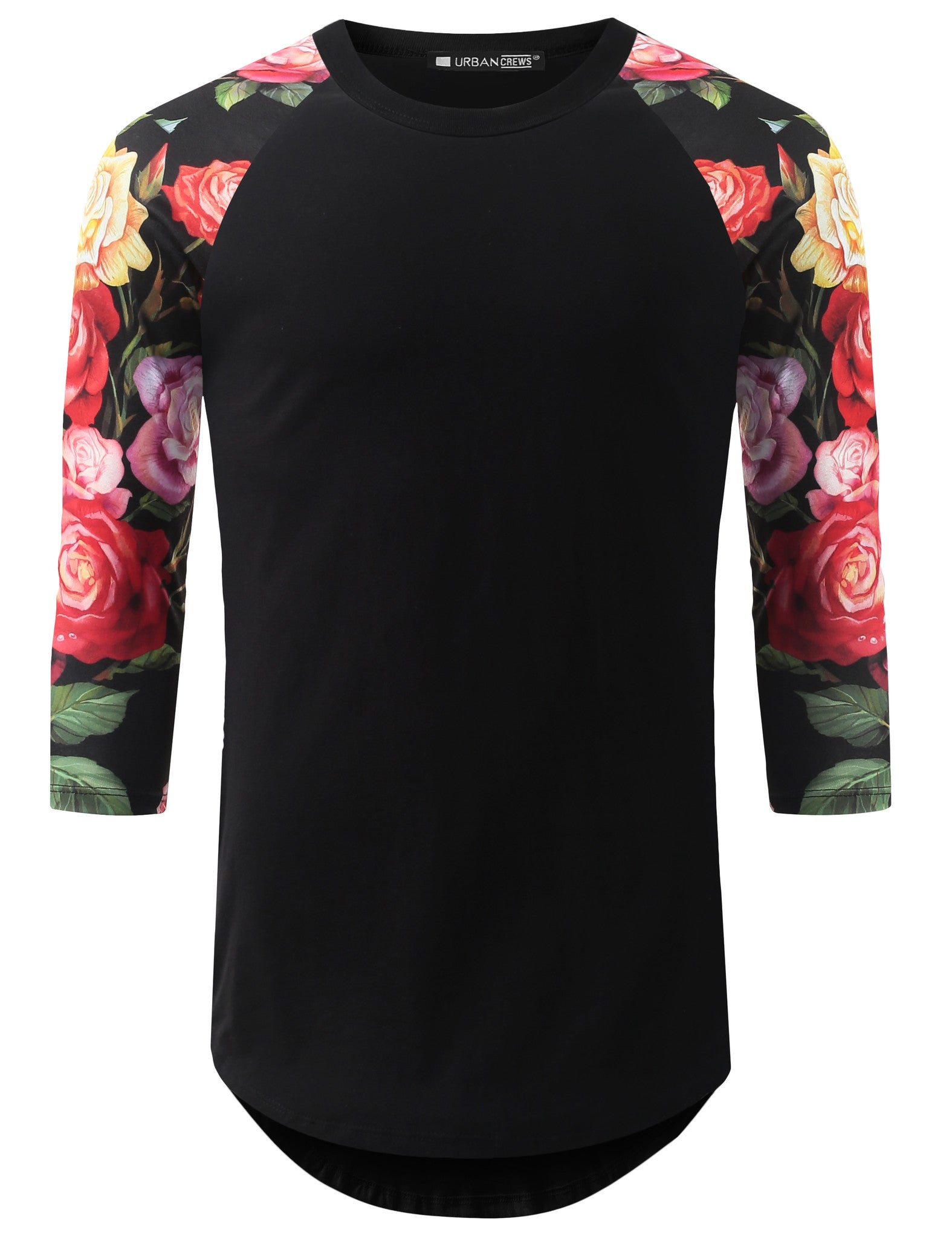 BLACK 3/4 Sleeve Multi Roses Longline Raglan Baseball Shirt- URBANCREWS