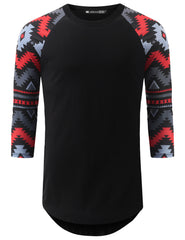 BLACK 3/4 Sleeve Aztec Longline Raglan Baseball Shirt- URBANCREWS