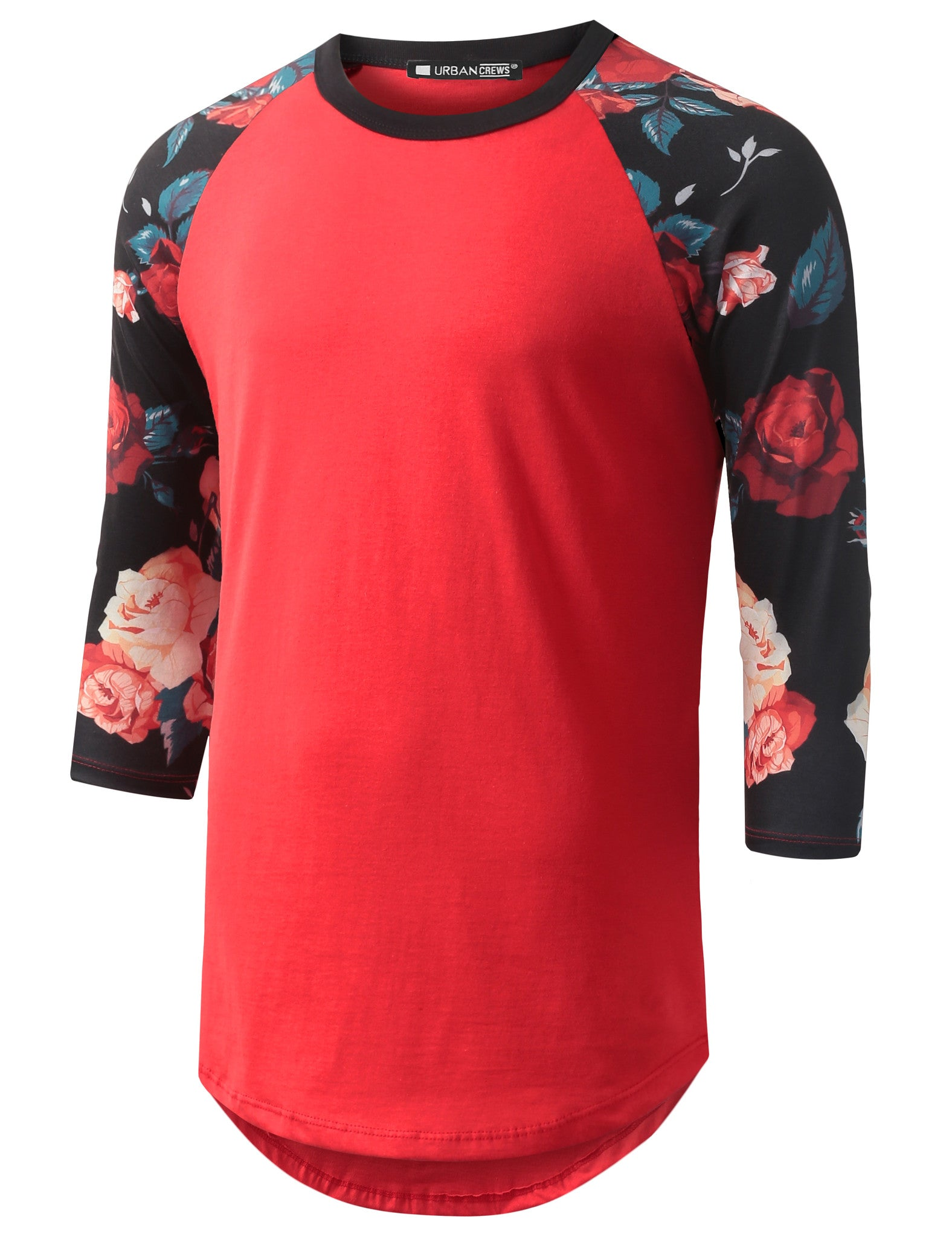 RED 3/4 Sleeve Multi Roses Red Longline Raglan Baseball Shirt- URBANCREWS