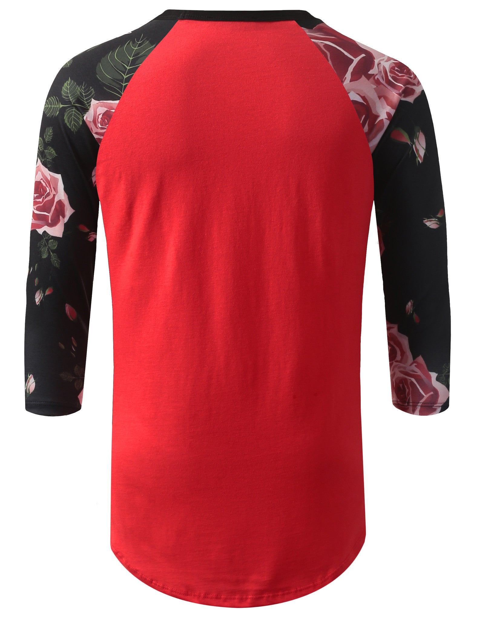 RED 3/4 Sleeve Roses Red Longline Raglan Baseball Shirt- URBANCREWS
