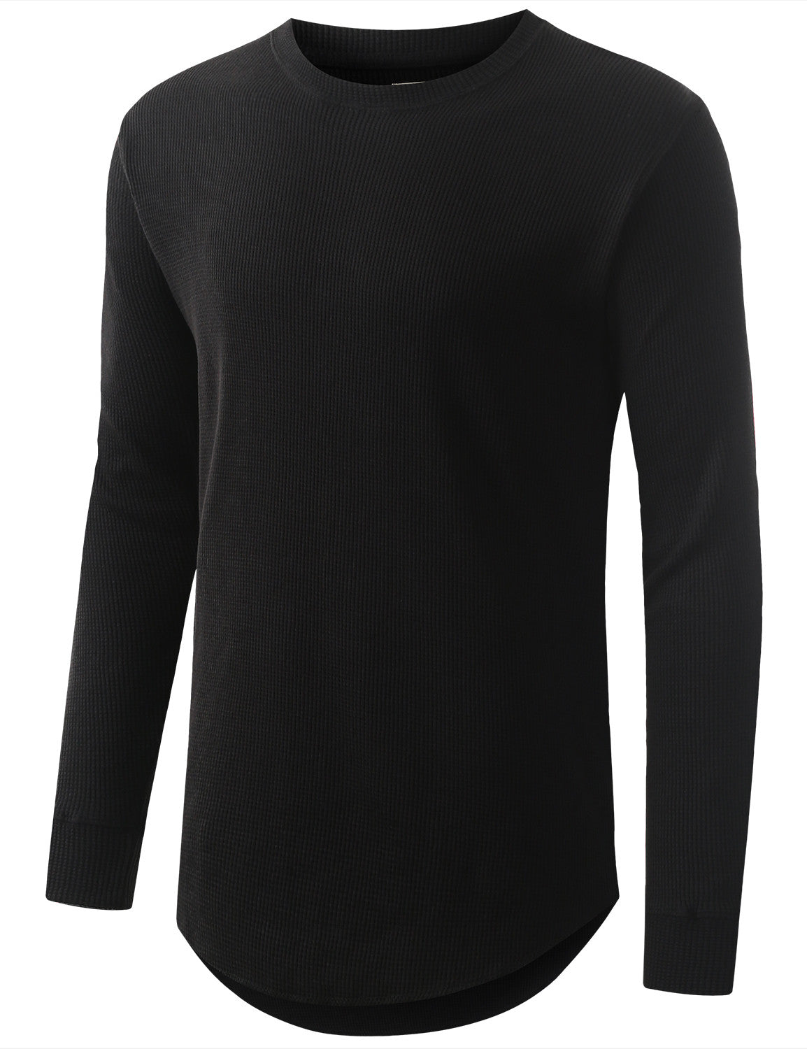 BLACK Raw Edge Thermal Long Sleeve Tshirt - URBANCREWS