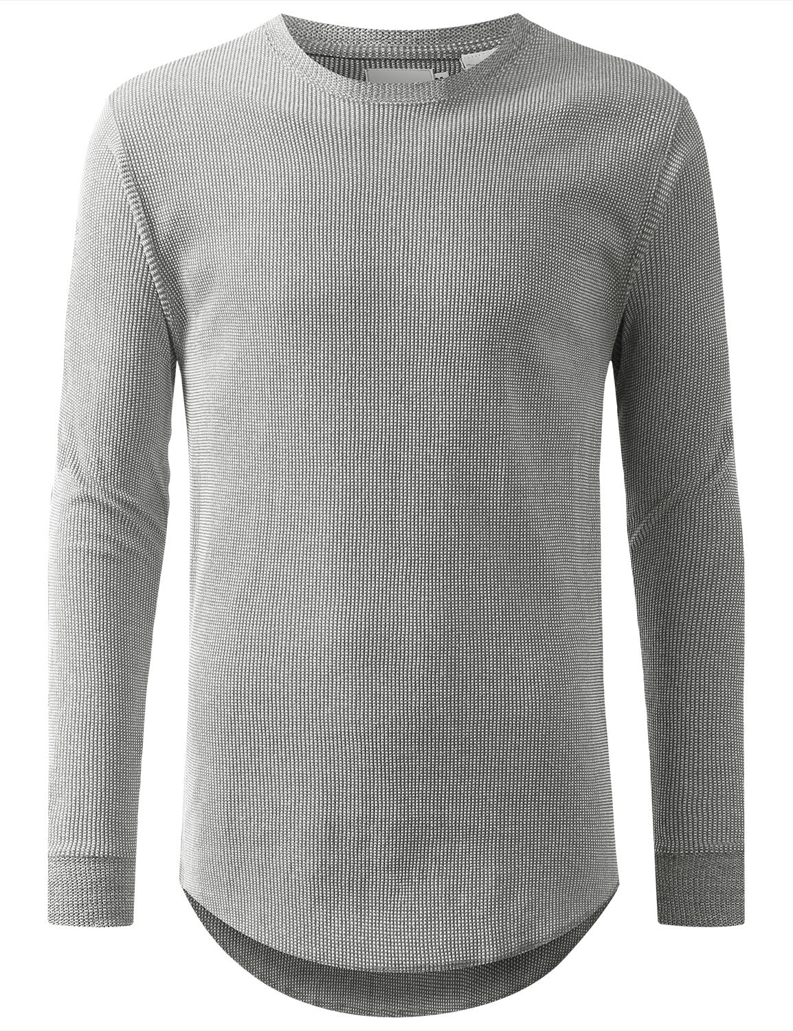 GRAY Raw Edge Thermal Long Sleeve Tshirt - URBANCREWS