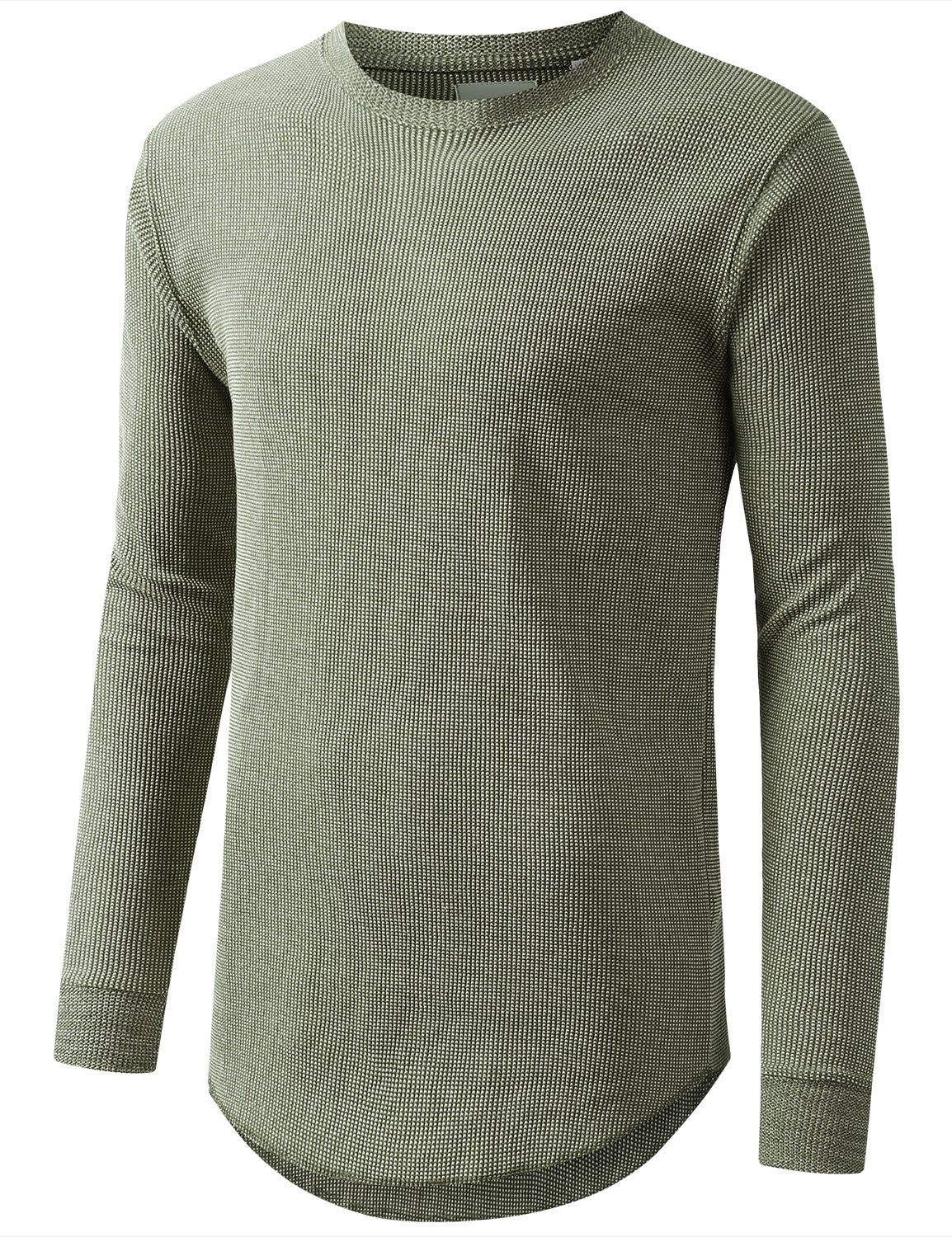 OLIVE Raw Edge Thermal Long Sleeve Tshirt - URBANCREWS