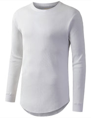 WHITE Raw Edge Thermal Long Sleeve Tshirt - URBANCREWS