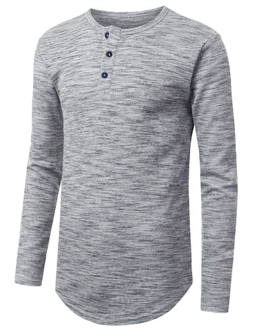 Henley Thermal Long Sleeve Tshirt