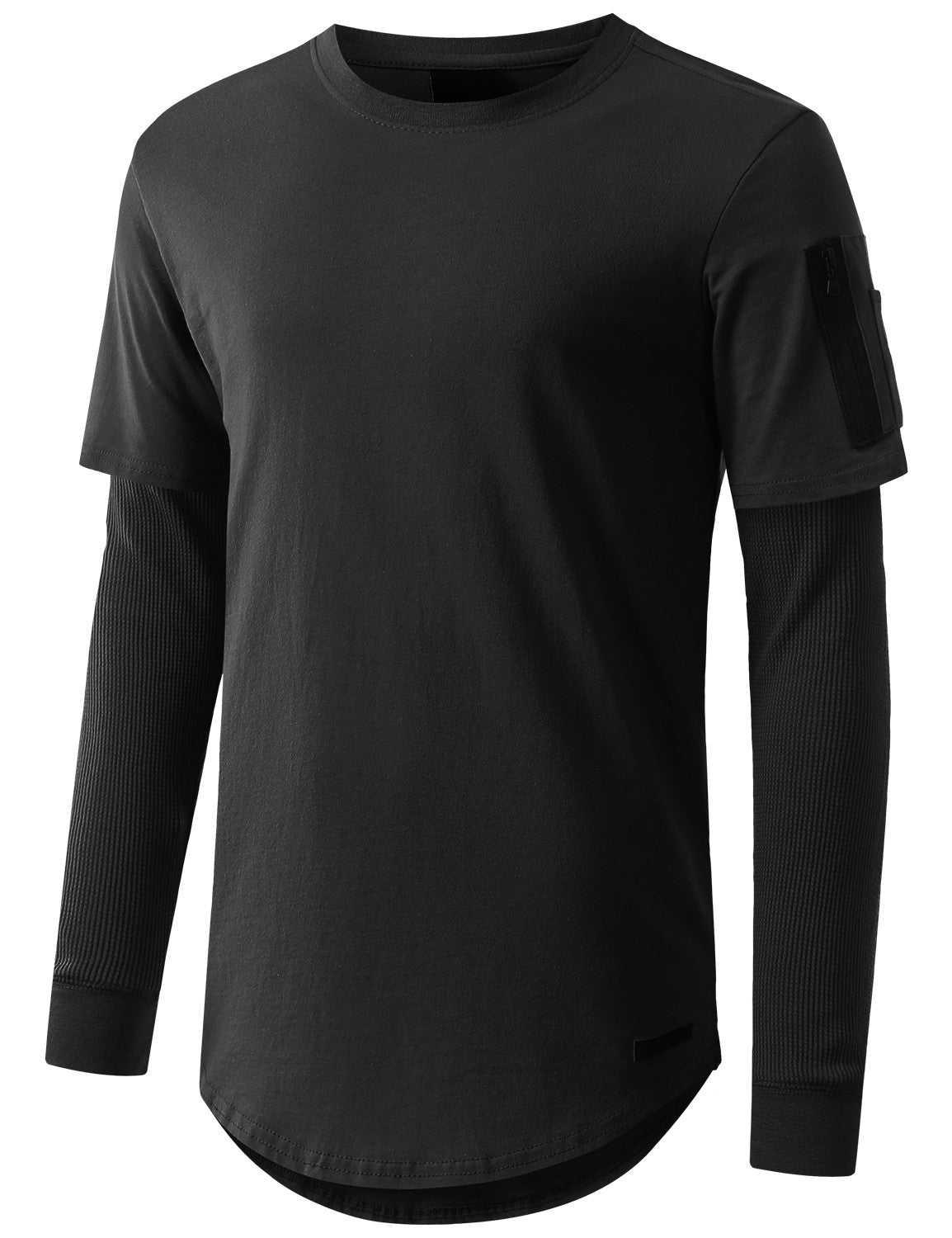 BLACK Thermal Sleeved Long Sleeve Tshirt - URBANCREWS