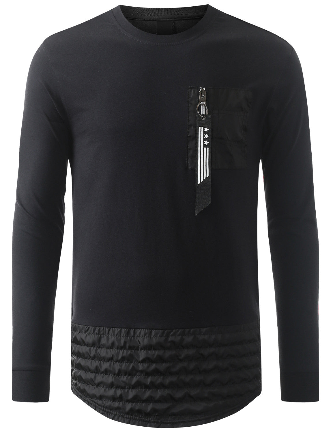 BLACK Nylon Trim Thermal Longline Sweatshirt - URBANCREWS